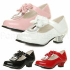 GIRLS KIDS CHILDRENS BOW DIAMANTE T-BAR FLOWER GIRL BRIDESMAID PARTY SHOES SIZE