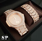 Men Hip Hop Iced Out Lab Diamond Luxury Rose Gold PT WATCH & BRACELET Gift Set image