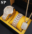MEN ICED OUT HIP HOP GOLD PT WATCH & FULL ICED NECKLACE & BRACELET COMBO SET