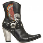NEWROCK BULL006-S1 New Ladies Black Leather Cowgirl Ankle Boots Wing Skull Biker