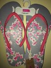 JOULES Sandy Flip Flops Beach Sandals Grey Floral Sz 5 & 6 Free UK P&P