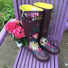 JOULES Wellies Welly Boots Burgundy Floral Sz 5 6 7 FreeUKP&P