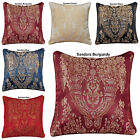 "LUXURY JACQUARD STYLISH FLORAL DAMASK CUSHION COVERS OR FILLLED 18""x18"" INCHES"