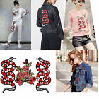 Punk DIY Snake Peony Pattern Embroidered Applique Patches Decoration Sew on Red