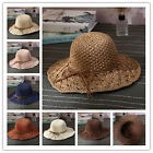 Women Floppy Hat Wide Brim with Ribbon Folding Straw Summer Beach Sun Hat