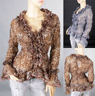 Ladies Ruffle Deep V-Neck Casual Long Sleeves Leopard Top Blouse Shirt 1701