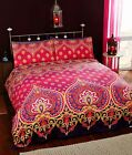 Rapport Asha Ruby/Red Purple Ethnic Cotton Duvet Set Single Double King Bedding