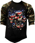 Men's Patriotic American Skulls Camo Baseball Raglan T Shirt July 4 USA Flag US