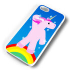 COOL RAINBOW UNICORN WHITE PHONE CASE COVER FITS IPHONE 4 5 6 7 (#WH)