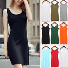 Layering Fitted Stretchy  Extra Long Cami Tank Top Mini Dress Basic S-4XL