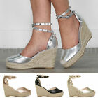 WOMENS LADIES HIGH WEDGE PLATFORM STUDDED ANKLE STRAP ESPADRILLES SANDALS SHOES