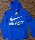 NIKE MENS THERMA DRI-FIT BRITE BLUE BEAST PULL-OVER POLYESTER HOODIE LIST $55