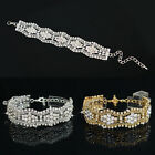 Lady Rhinestone Crystal Bangle Chain Charm Cuff Bracelet Women Fashion Jewelry