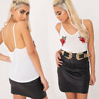 HA Women's Floral Embroidery Crop Tops Summer V-Neck Sling Tank Top Camisole