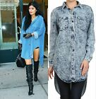 NEW! Celebrity Oversized Denim Acid Wash High Low Tunic Shirt Dress