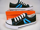 New Boys 2 Stripe Low Canvas Sneakers Black  w /Blue Stripes  Youth Size 2