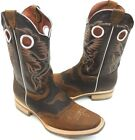 Men's Rodeo Cowboy Boots Genuine Leather Western Square Toe Boots Brown Color