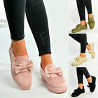 New Womens Flat Sneakers Ladies Slip On Pumps Bow Trainers Casual Walking Shoes