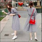 2017 Womens korean back button slim bowknot belt check long loose shirt dress