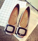 Women's Fashion Patent Leather Metallic Buckles Bowknot Flats Work Shoes 4-9
