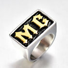 Bike Motorcycle Club Gold Letters MC Ring Size 8-15 Men's Ring Stainless Steel
