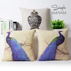 "Retro Peacock Cotton Linen Pillow Case Cushion Cover Sham New Year Gift 18""x18"""