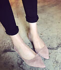 Women Fashion Sexy Faux Suede Pointy Toe Cut Out Flat Heel Casual Work Shoes 4-9