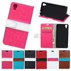 For HTC One X9 Case Cover PU Leather Card Slot Stand Contrast Flip Luxury New