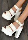 CARA Chunky High Heel Strappy Summer Sandals Shoes In WHITE or BLACK