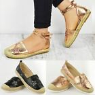 Womens Ladies Rose Gold Flat Espadrille Shoes Sandals Summer Casual Pumps Size