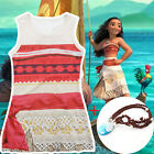Girls Deluxe Disney Moana Princess Fancy Dress Costume Dress Cosplay Dress Skirt