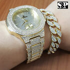 MEN'S HIP HOP QUAVO GOLD PT LUXURY WATCH & FULL ICED CUBAN BRACELET COMBO SET  image