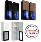 Wall Display Cabinet Glass Door Storage LED Lighted Shelves Modern Furniture