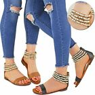 Womens Ladies Flat Slip On Pearl Sandals Ankle Strappy Diamante Gladiator Size
