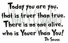Today You Are Youer Than You Dr Seuss Quote  Wall Art Vinyl Sticker Decal (#451)