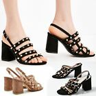 Womens Ladies Block High Heels Studded Strappy Open Toe Celeb Sandals Shoes Size