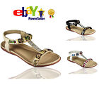LADIES WOMENS FLAT DIAMANTE ZIP SUMMER BEACH DRESSY HOLIDAY SANDALS SHOES SIZE