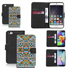 Black pu leather wallet case cover for most mobiles- ethnic