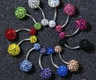 Rhinestone Crystal Ball Navel Belly Ring Body Jewelry- Curved Barbell *US BASED*