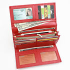 Women RFID Wallet Leather Trifold Long Travel Wallet Safe Credit Card Protector
