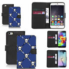 faux leather wallet case for many Mobile phones - blue skull pictoral