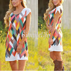 Lady Summer Short Dress Boho Multi-color Sleeveless Party Evening Cocktail Beach