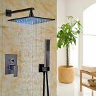 """Bathroom 10""""Rainfall LED LIght Oil Rubbed Bronze Shower Faucet with Hand Shower"""