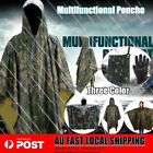 Waterproof Hooded Camping Poncho Raincoat Rain Cover Camouflage Hiking 3Colors