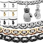 Flat Stainless Steel Necklace Chain Link + Pendant Boxing Glove Men Jewelry Set