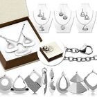 Set Neckchain Necklace Dangle Earring Pendant Collier Silver With Gift Packaging