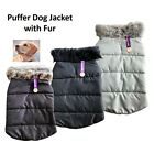 Puffer Dog Jacket with Fur Dogs Pet  Puppy Coat Vest 3 Sizes Black Brown Grey