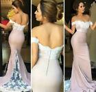 Pink Mermaid Off Shoulder Lace Prom Bridesmaid Applique Evening Cocktail Dress