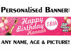 PERSONALISED BIRTHDAY PARTY PVC BANNER 18TH 21ST 40TH 50TH 60TH OUTDOOR GIRLS