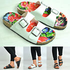 New Womens Ladies Flat Heel Floral Flat Sandals Comfy Slip On Shoes Size Uk 3-8